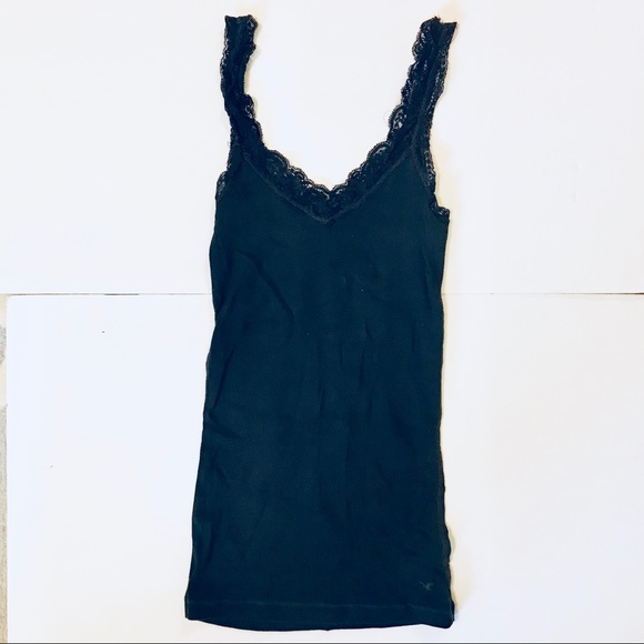 American Eagle Outfitters Tops - American eagle black lace edged tank